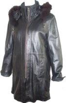 5002 PREMIUM Grade Real Genuine Black Soft Supple Light Lambskin Leather 3/4 Half Coat Parka Laydown Collar Zip Front Double Placket Closure Zip Off Hood Fox Trim Draw String, Lined, ZIP OUT FAKE FUR VELOUR LINER, Petite Regular Plus Size