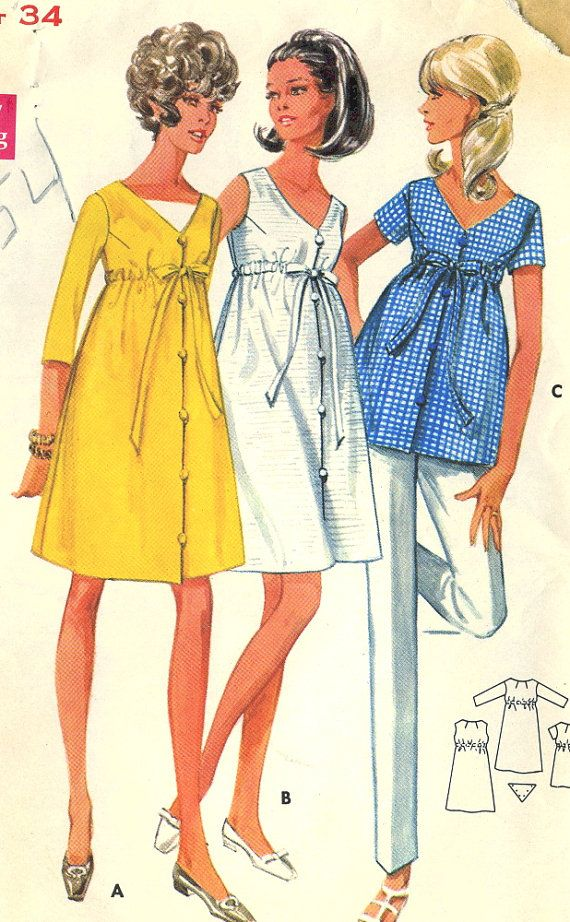 Vintage 1960s Butterick 4954 Maternity Empire Waist Baby Doll Dress or Tunic Sewing Pattern  Size 10 Bust 32.5 Size 12 Bust 34  High-waisted dress or top with front button-loop closing has V-neckline with or without contrast dickey. Self tie belt through casing. Three-quarter or short sleeves, or sleeveless. Purchased pants. Pattern Size 10 is CUT/Complete/Printed. Pattern Size 12 is Unused but not factory folded.  Copyright 1960s.  Envelopes are in poor condition with tattered edges, top…