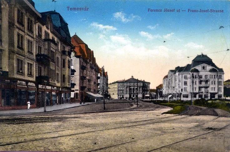 Centrul Timişoarei 1910 - cu Ferenc Jozséf ut (maghiară) sau Franz Josef Strasse (germană)