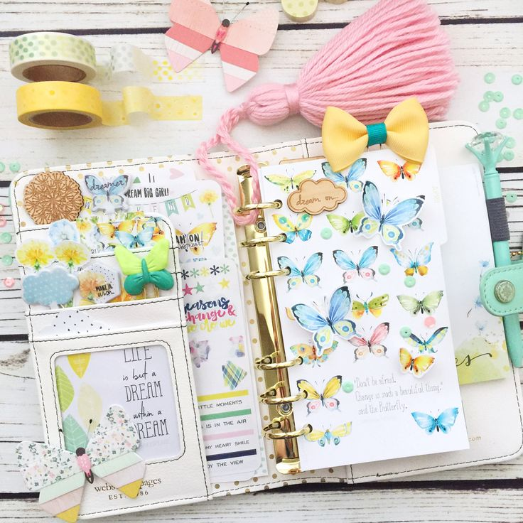 Just finished filling up my mint Webster's Pages planner with this beautiful Butterfly themed April planner kit from Cocoa Daisy