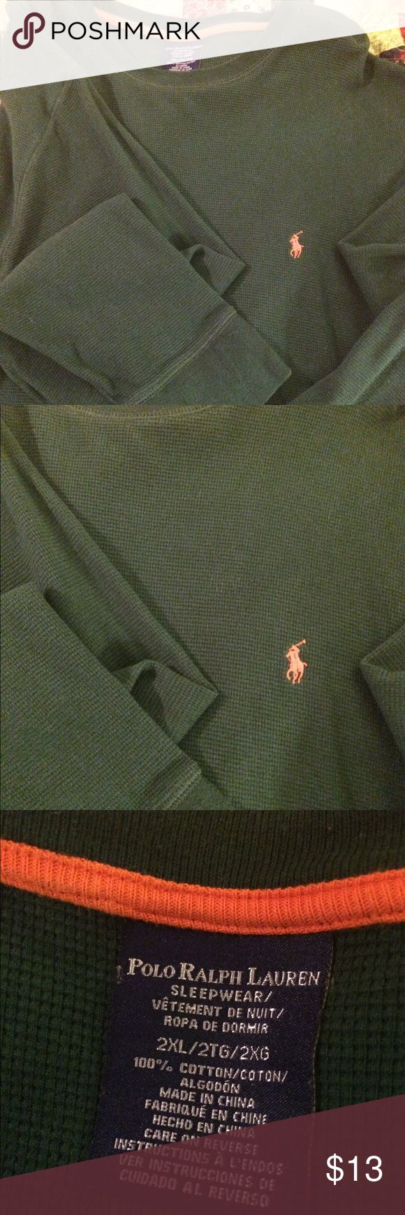 Ralph Lauren Polo men's thermal sleep shirt Lovely hunter green thermal long sleeve 2xl Ralph Laurn.polo shirt. Like new,  barely used in great condition! Polo by Ralph Lauren Shirts Tees - Long Sleeve