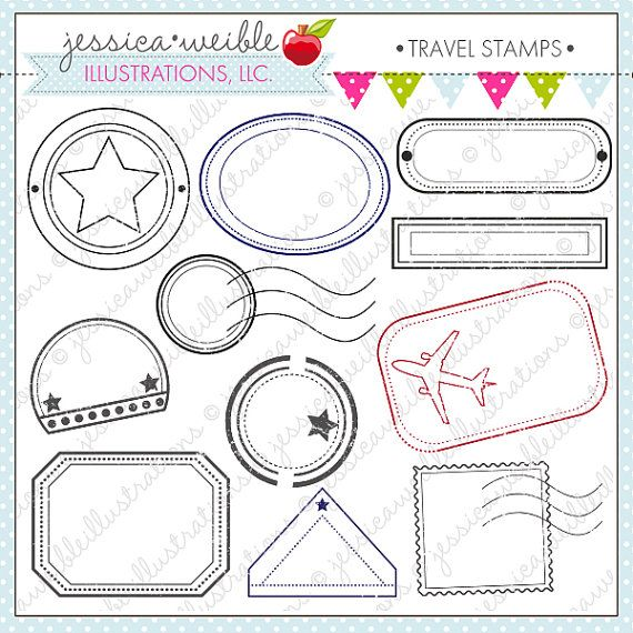 Travel stamps cute digital clipart digital stamp clip art for Post office design your own stamps