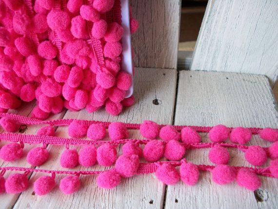 Hey, I found this really awesome Etsy listing at https://www.etsy.com/listing/73604876/pom-pom-trim-rose-pink-2-yards-12-inch