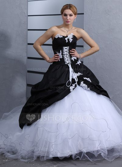 Wedding Dresses - $264.99 - Ball-Gown Sweetheart Cathedral Train Taffeta Tulle Wedding Dress With Ruffle Lace (002012075) http://jjshouse.com/Ball-Gown-Sweetheart-Cathedral-Train-Taffeta-Tulle-Wedding-Dress-With-Ruffle-Lace-002012075-g12075