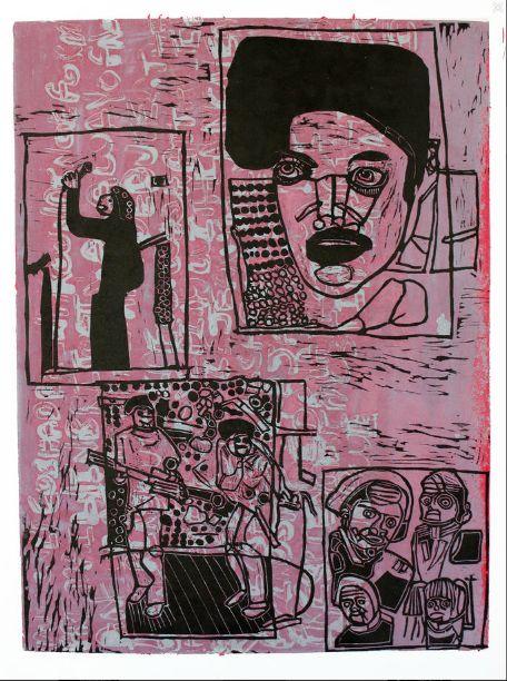 Juan Pierri, On Stage (Plum), 2013. Linoprint