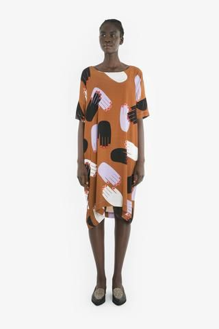 GLADYS DRESS from Obus Spring17 | A bright multicolour dress with overlapping hands print, with short sleeves and finishing at the knee.