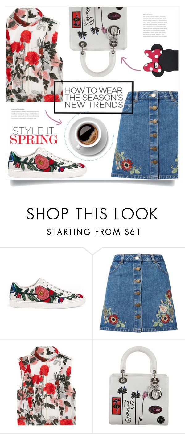 """""""#311) SEASON'S TREND: DOZEN OF ROSES"""" by fashion-unit ❤ liked on Polyvore featuring Gucci, Miss Selfridge, Ganni, Christian Dior and Kate Spade"""