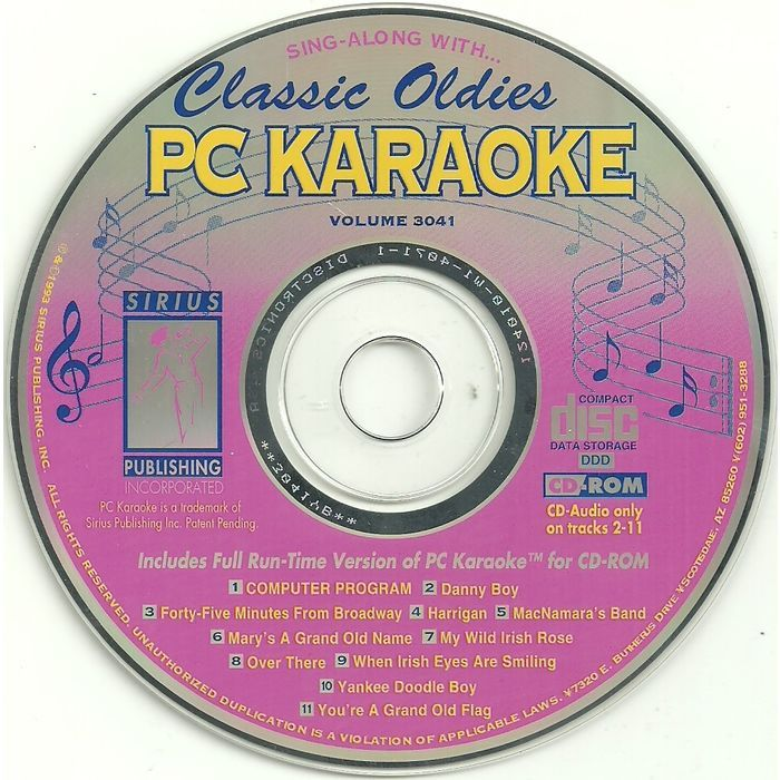 PC Karaoke Classic Oldies PC Software 1993 CD-ROM MS-DOS Windows 3.1 Sirius 3041 Listing in the Desktop Publishing,Software,Computing Category on eBid Canada | 155452264 CAN$10.00 + shipping