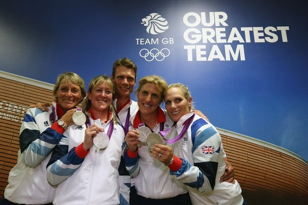 LONDON, ENGLAND - JULY 31:  Great Britain's Eventing Team (L-R) Mary King, Nicola Wilson, William Fox-Pitt, Kristina Cook and Zara Phillips show off their silver medals during a press conference on Day 4 of the London 2012 Olympic Games on July 31, 2012 in London, England.