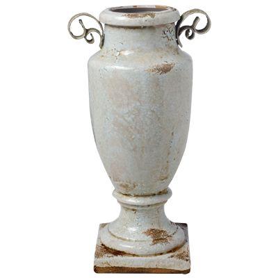 White Grecian Vase. Measures: 16.51 X 11.43 X 30.48cm.