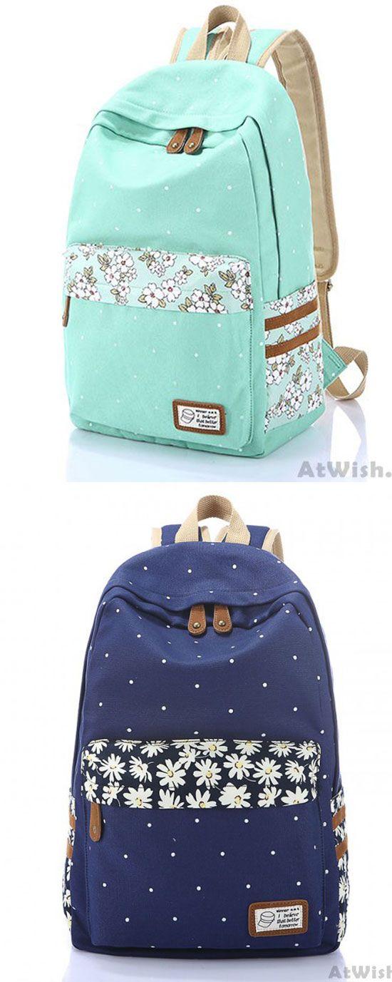 Fresh Polka Dot Mint Green Canvas School Backpacks for big sale! #canvas #green #dot #backpack #fresh#bag #school #college #student