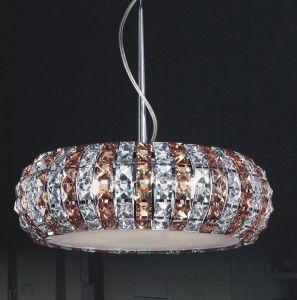 Żyrandol kryształowy MONDE Italux P0109-06E-F4RK bursztyn