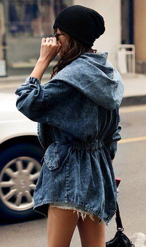 UUstar® Damen Lady Jeansstoff Trenchcoat Hoodie Hooded Outerwear Jeans Jacke Jacket Mantel Kapuzenpullover