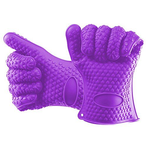 BOBILIFE Silicone Gloves - Heat Resistant Grilling Oven Gloves,BBQ Cooking Gloves for Cooking, Grilling, Baking, Barbecue(Pack of 2 Pieces) (Purple)  High Quality & Safe: 100% FDA Grade and BPA Free Silicone.  Heat Resistant: Good Heat Resistant quality and is guaranteed to withstand extreme temperatures up to 450 degree F.  Easy Cleanup: No matter how sticky or greasy they get, our gloves easily wash clean by hand or in the dishwasher.  Special Soft Design: Soft tough silicone materia...