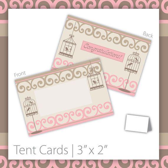 Bridal Shower Tent Cards : Blank . PRINTABLE . Pretty Bird ~ $6.00 ~ bridal tent cards, printable bridal shower tent card, do it yourself bridal tent cards, bird tent card, birdcage tent card, printable bird bridal shower, romantic bridal shower,  bridal shower sign, bridal shower printables, pink and beige bridal shower, bird cage tent cards, printable tent cards, blank bridal shower tent cards #bridalshower #birdbridalshower #bridalshowertentcards ~ https://www.etsy.com/listing/106044665