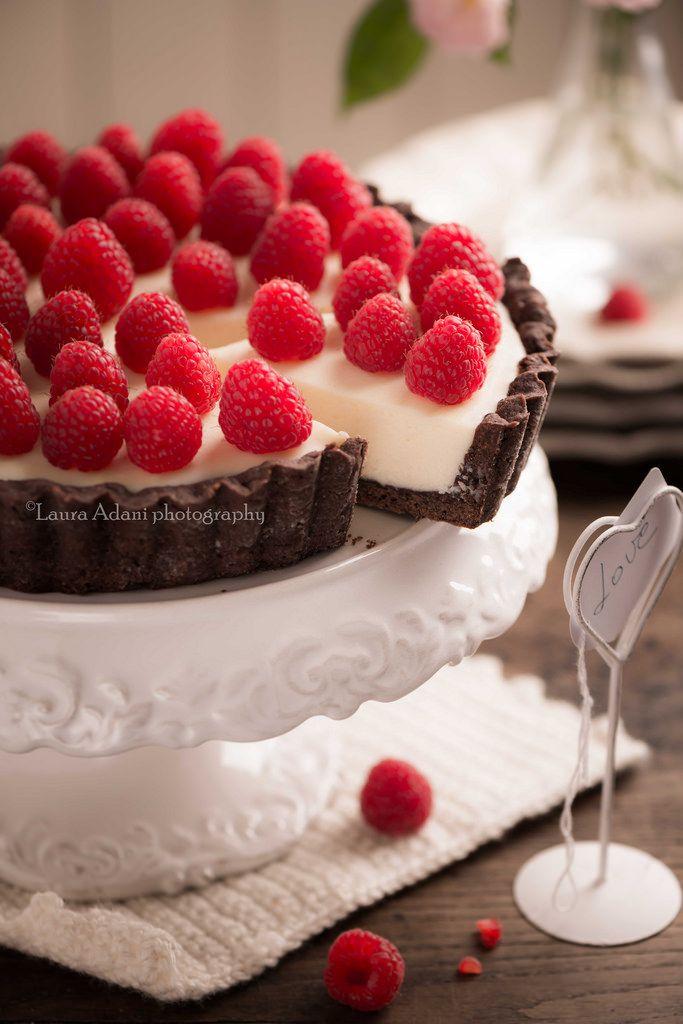 Crostata al cioccolato bianco e lamponi