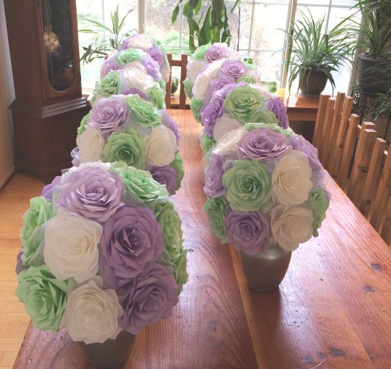 9 Large Mint Green White And Lavender Wedding By Centertwine