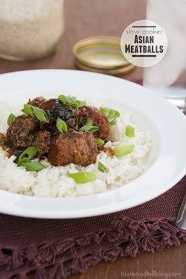 Slow Cooker Asian Meatballs from Taste and Tell [Featured on SlowCookerFromScratch.com]