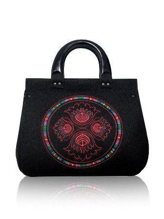 Embroidered black felt bag for sale at solime.com.au | SoLime