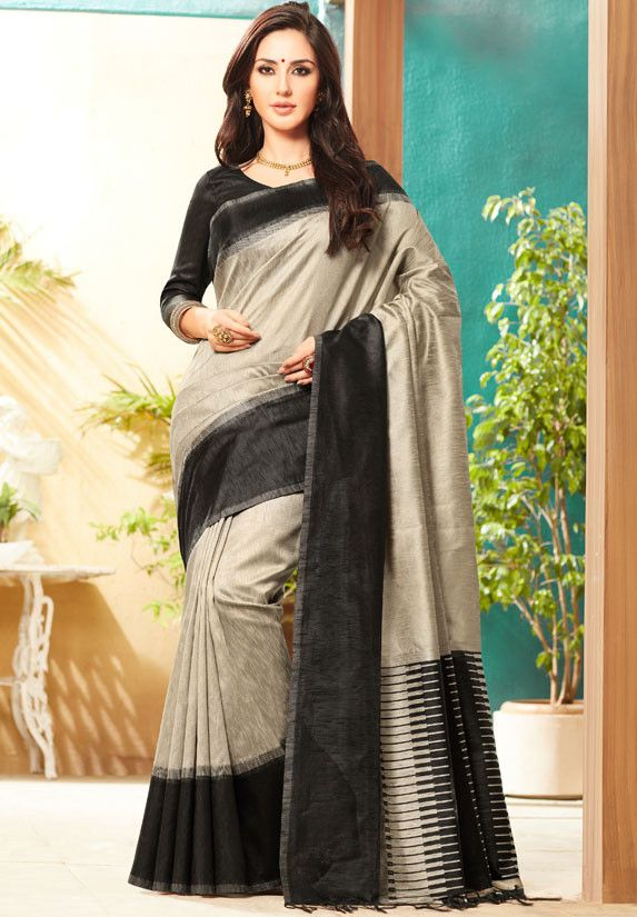 Ash Grey and Black Jute Silk Saree with Double Blouse