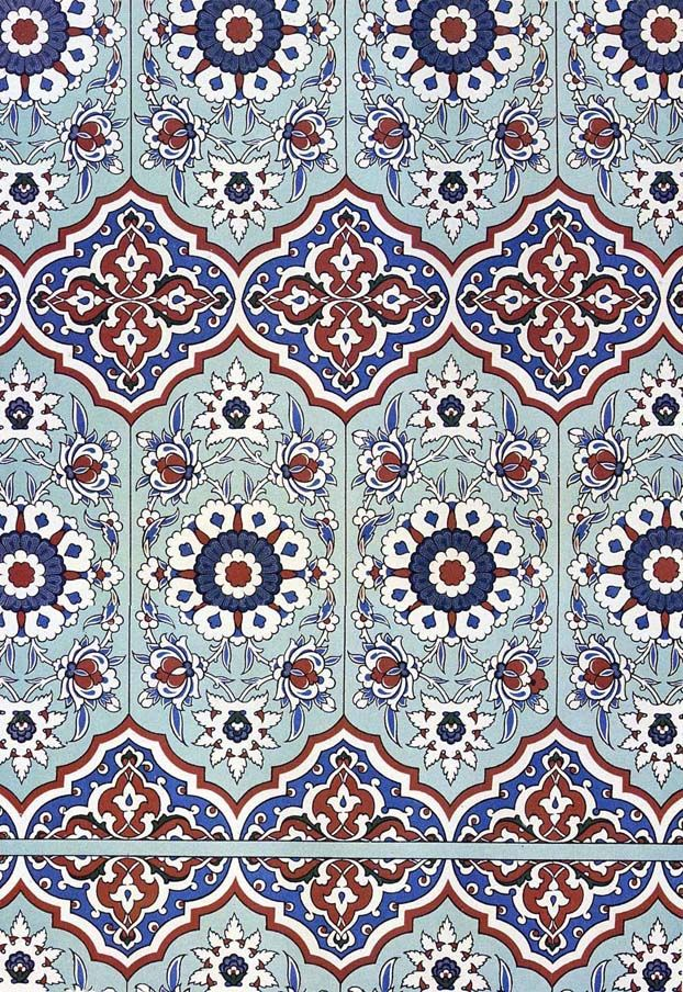 Wall tiling decoration of the Pavilion of Mahubay, 16th century (The Textile Blog)