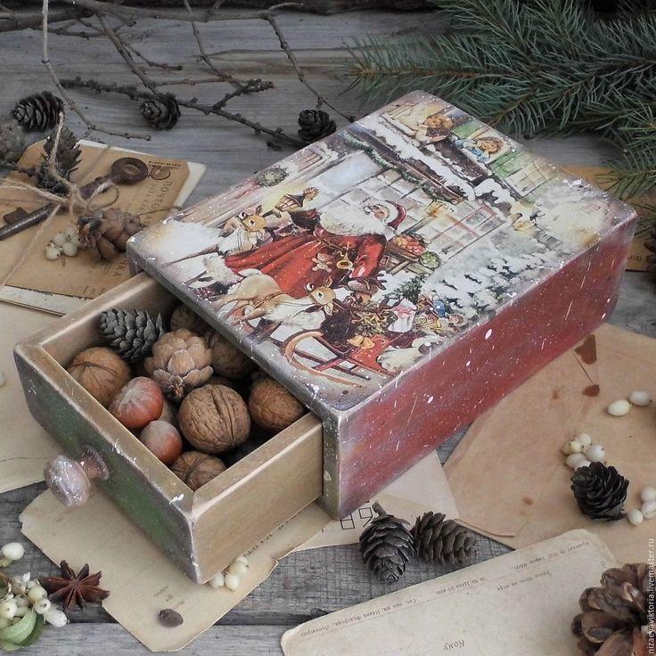 """Купить """"Рождественские подарки"""" Короб- пенал из Ольхи - деревенский стиль, винтаж, Короб деревянный"""