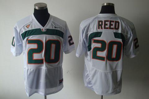 Men's NCAA Miami Hurricanes #20 Reed White Jersey