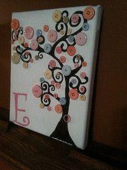 Button tree on canvas. Cute idea for the nursery.