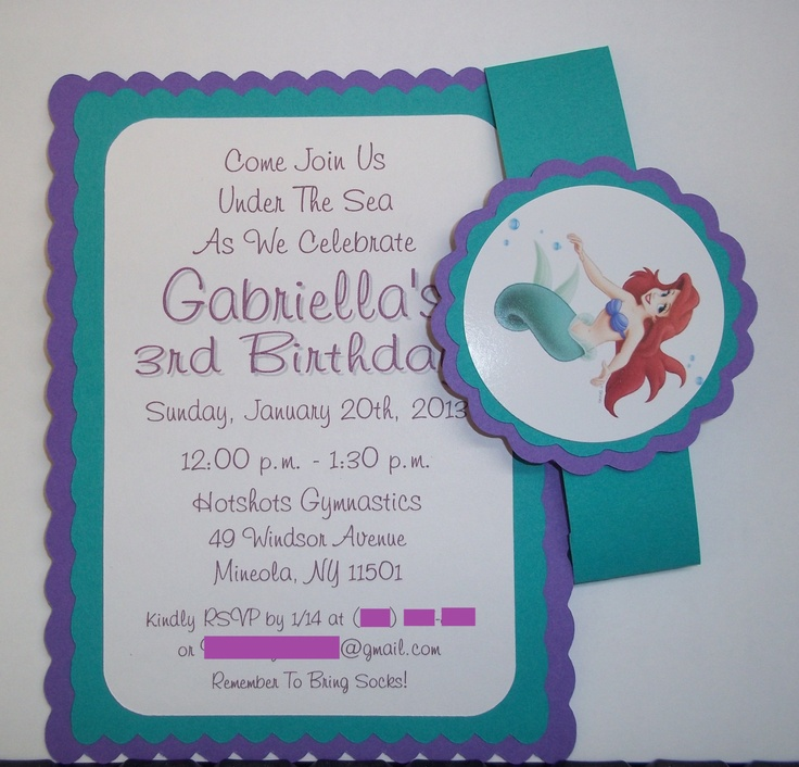 Best Little Mermaid Birthday Images On Pinterest Little - Custom ariel birthday invitations
