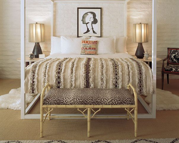 Luxe texture in a Parker Palm Springs villa: Beds, Design Interiors, Hotels Interiors, Wedding Quilts, Interiors Design, Parker Palms Spring, Animal Prints, Jonathan Adler, Moroccan Wedding Blankets