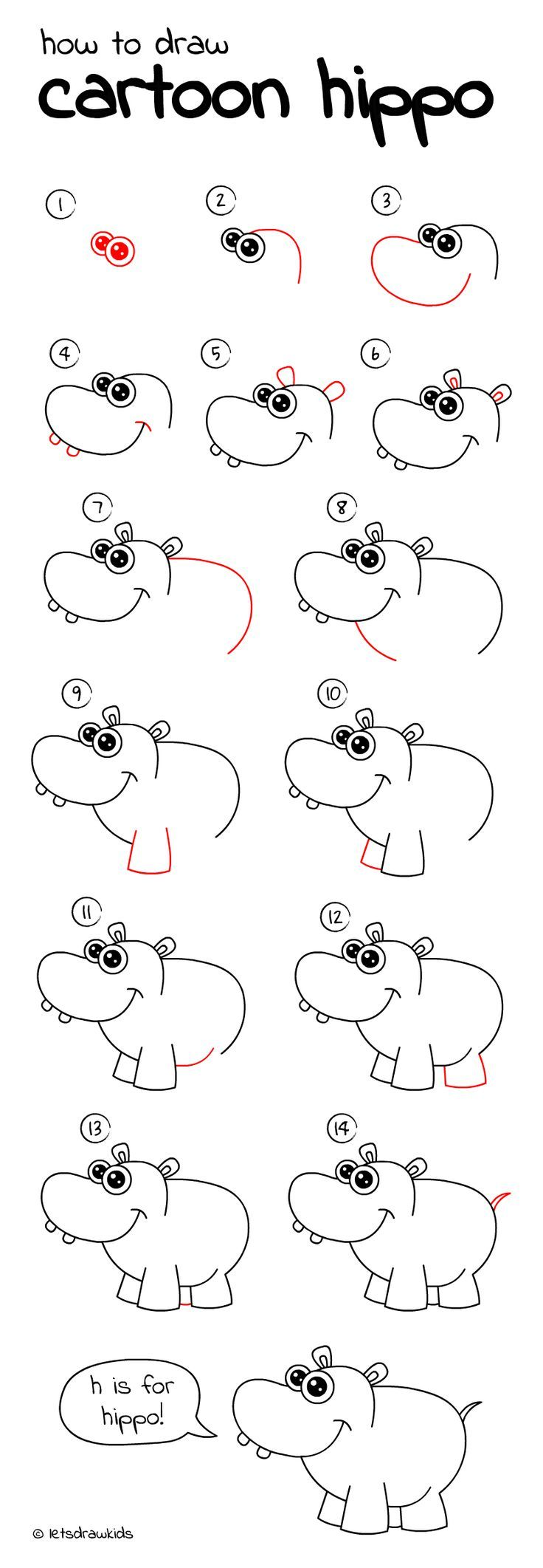 How to draw Cartoon Hippo. Easy drawing, step by step, perfect for kids! Let's draw kids. letsdrawkids.com/