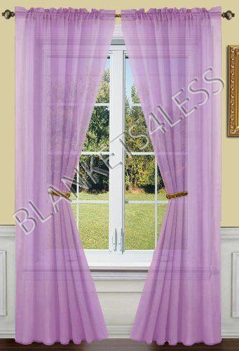 2 Piece Solid Lilac Lavender Purple Sheer Window