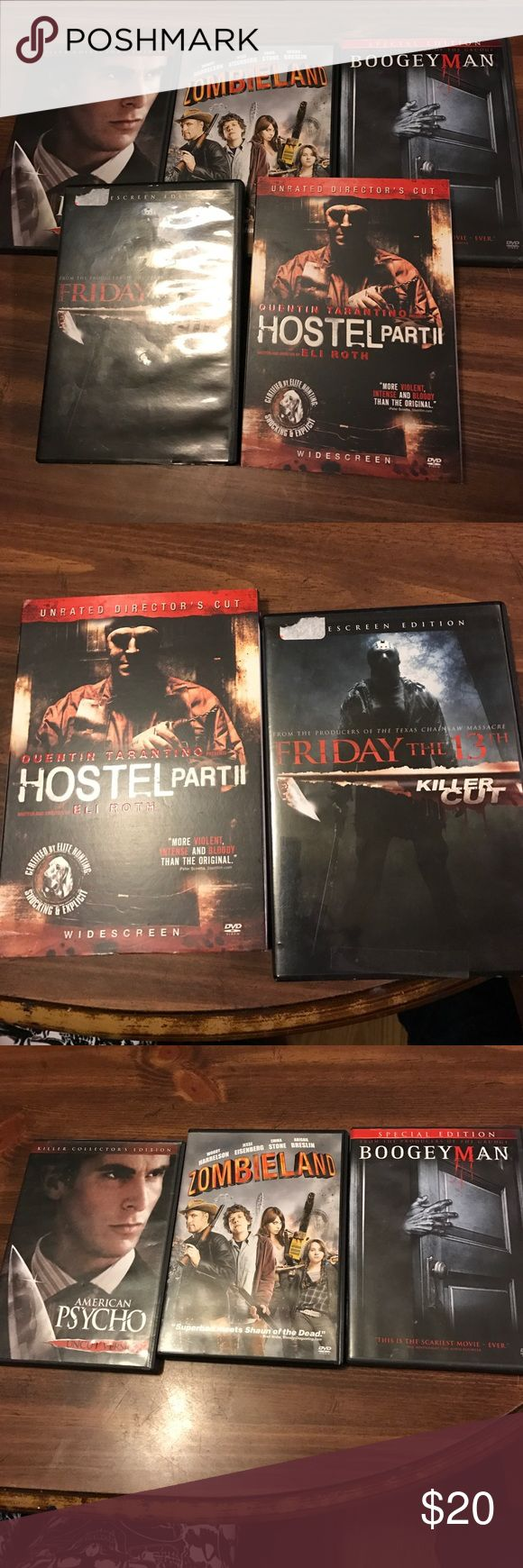 Scary movie lot/bundle DVD scary movie lot/ bundle includes 5 movies,   Friday the 13th killer cut, Hostel part 2, American Psycho uncut, Boogeyman and Zombieland Other