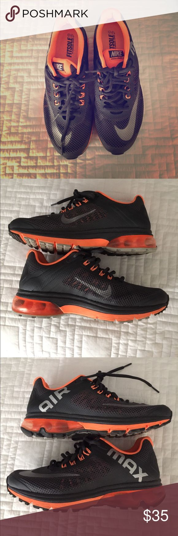 Nike sneakers Orange and grey Nike air max women sneakers : great condition . Nike Shoes Sneakers