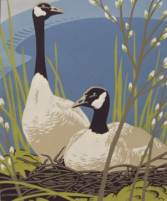 CASSON, A.J. (1898-1992) - Canadian artist  -  'Canadian Geese'