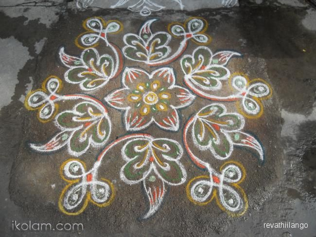 Rangoli 9 to 5 interlaced dots.: Rev's yellow leaf kolam. by revathiilango