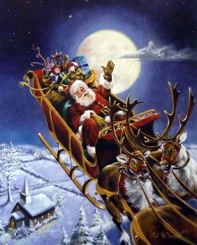 """Santa and his reindeer making Christmas Eve Deliveries Signed and Numbered Comes with Certificate Image Size 16""""W x 20""""H"""