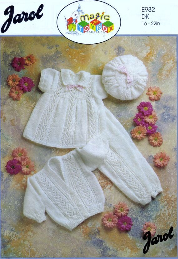 SATILIK - 982 -Jarol 22 ins - - Bebek DK 8ply Elbise tozluk Hırka & şapka 16 boyutları Vintage Bebek Örgü Desenleri Pdf