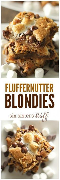 Fluffernutter Blondies on SixSistersStuff.com | Peanut butter, marshmallows, and chocolate... could these blondies be any better?