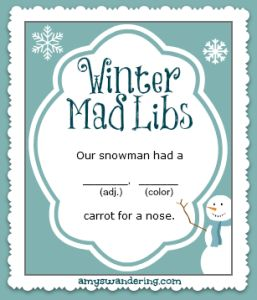 Practice those grammar skills with these fun Winter Mad Libs