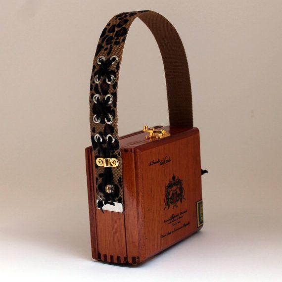 Authentic A Fuente Don Carlos Wood Cigar Box Purse, Leopard Print Strap Handle, Faux Fur Inside, Mirror, Protective Finish, Purse Feet