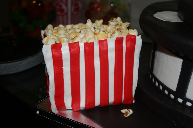 Popcorn mini cake. Bag made from cake and fondant and popcorn made from sugar