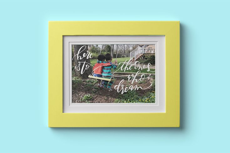 Creative Kid Portrait Ideas for Father's Day: Custom calligraphy over a favorite photo from Calligraphy Portraits | Father's Day Gifts 2017