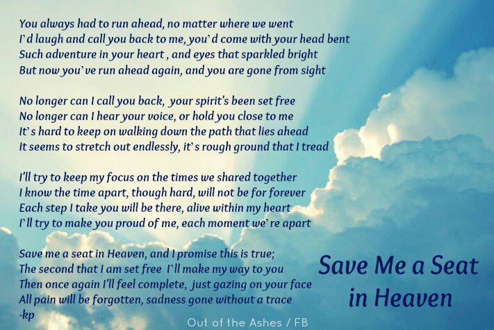 I Hate You Dad Poems: Save Me A Seat In Heaven