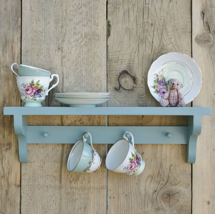 ... CHIC SHELF Painted wooden vintage style handmade wall shelf with hooks