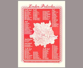 London Postcodes print | Southbank