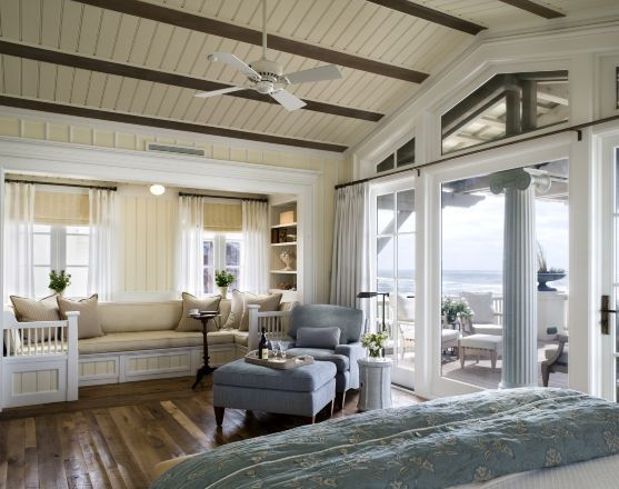 Seating area, windows, doors: Window Benches, Dreams Home, Beaches Houses Bedrooms, Masterbedroom, The View, Beach Houses, Master Bedrooms, Window Seats, Beaches Style