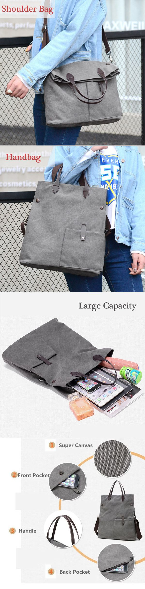 Women Canvas Dual-use Handbag Rucksack Shoulder Bag Shopping Bag Satchel Bag
