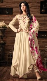 Cream Color Georgette Asymmetrical Anarkali Suit #anarkalifromhicksvileny #anarkalifrocks Attract oodles of attraction draped in this cream color georgette asymmetrical Anarkali suit. The lace, patch, resham and stones work appears chic and aspiration for any function. USD $ 125 (Around £ 86 & Euro 95)