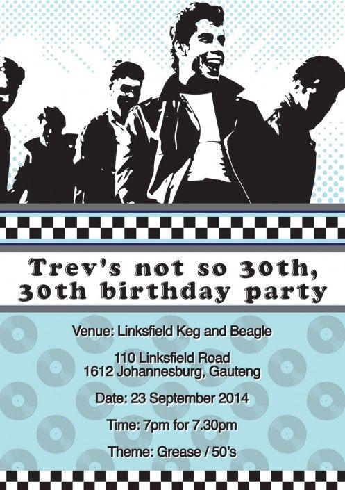 Grease party invitation design by Very Cherry Design Studio